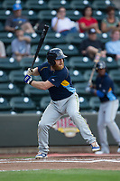 Jesse Hodges (24) of the Myrtle Beach Pelicans at bat against the Winston-Salem Dash at BB&T Ballpark on May 11, 2017 in Winston-Salem, North Carolina.  The Pelicans defeated the Dash 9-7.  (Brian Westerholt/Four Seam Images)