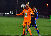 Ella Van Kerkhoven (3) of AA Gent pictured in a duel with defender Fleur Bienkens (23) of KRC Genk during a female soccer game between  Racing Genk Ladies and AA Gent Ladies on the eleventh matchday of the 2020 - 2021 season of Belgian Scooore Womens Super League , friday 22 th of January 2021  in Genk , Belgium . PHOTO SPORTPIX.BE | SPP | DAVID CATRY
