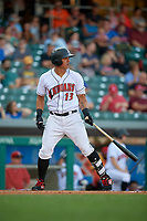 Indianapolis Indians first baseman Jose Osuna (13) at bat during a game against the Rochester Red Wings on July 24, 2018 at Victory Field in Indianapolis, Indiana.  Rochester defeated Indianapolis 2-0.  (Mike Janes/Four Seam Images)