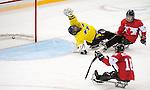 Ben Delaney and Tyler McGregor, Sochi 2014 - Para Ice Hockey // Para-hockey sur glace.<br /> Team Canada takes on Sweden in Para Ice Hockey // Équipe Canada affronte la Suède en para-hockey sur glace. 08/03/2014.