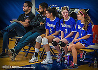 27 October 2013: Yeshiva University Maccabee Setter Shana Wolfstein (3), a Junior from Burlington, VT, sits with teammates Elana Lesser (6) and Carol Jacobson (1) during a Skyline Conference game against the Purchase College Panthers at the College of Mount Saint Vincent in Riverdale, NY. The Panthers defeated the Maccabees 3-0 in NCAA women's volleyball play. Mandatory Credit: Ed Wolfstein Photo *** RAW (NEF) Image File Available ***