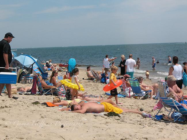 People on Harwichport Beach.Cape Cod, MA