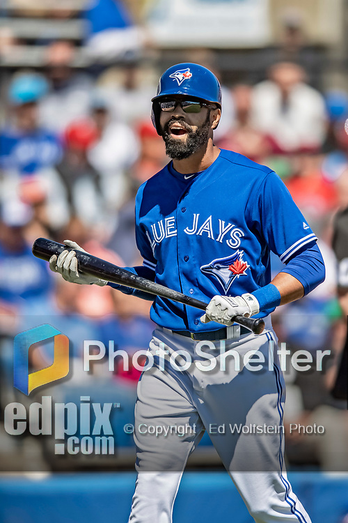 6 March 2019: Toronto Blue Jays outfielder Dalton Pompey at bat during a Spring Training game against the Philadelphia Phillies at Dunedin Stadium in Dunedin, Florida. The Blue Jays defeated the Phillies 9-7 in Grapefruit League play. Mandatory Credit: Ed Wolfstein Photo *** RAW (NEF) Image File Available ***