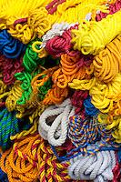 Nepal, Kathmandu.  Colored Plastic Rope.