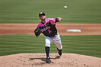 Charlotte Knights relief pitcher Kyle Kubat (15) in action against the Gwinnett Stripers at Truist Field on May 9, 2021 in Charlotte, North Carolina. (Brian Westerholt/Four Seam Images)