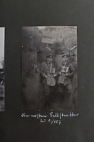 BNPS.co.uk (01202 558833)<br /> Pic: C&TAuctions/BNPS<br /> <br /> Pictured: German solidiers pose for a picture with breathing apparatus. <br /> <br /> Fascinating previously unseen World War One photos showing the conflict from the German perspective have come to light 103 years on.<br /> <br /> Major Hans Rudloff, a distinguished artillery officer, took hundreds of images of some of the major Western Front battles.<br /> <br /> There are scenes of destruction on the Verdun and at Cambrai, as well as snapshots of captured British soldiers on the Somme in the early days of the German Spring Offensive in March 1918.