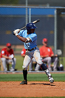 Tampa Bay Rays Xavier Edwards (54) bats during a Minor League Spring Training game against the Boston Red Sox on March 25, 2019 at the Charlotte County Sports Complex in Port Charlotte, Florida.  (Mike Janes/Four Seam Images)