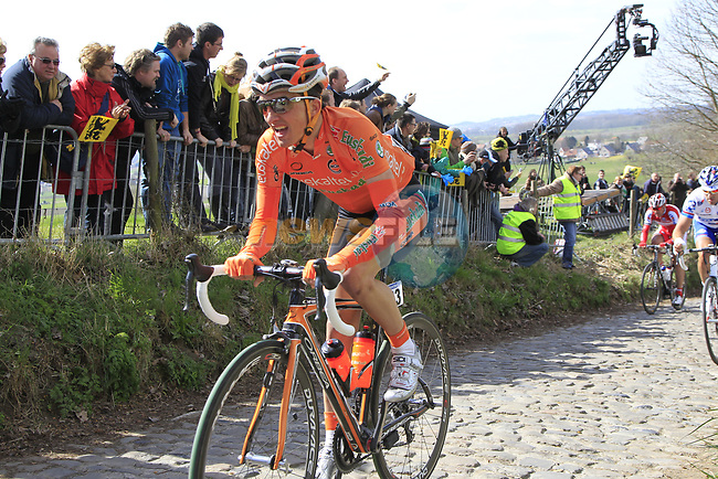 The breakaway group including Peio Bilbao (ESP) Euskaltel-Euskadi climb Koppenberg during the 96th edition of The Tour of Flanders 2012, running 256.9km from Bruges to Oudenaarde, Belgium. 1st April 2012. <br /> (Photo by Eoin Clarke/NEWSFILE).