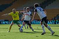 Preston North End's Patrick Bauer (centre) battles with  Norwich City's Teemu Pukki (left) <br /> <br /> Photographer David Horton/CameraSport<br /> <br /> The EFL Sky Bet Championship - Norwich City v Preston North End - Saturday 19th September 2020 - Carrow Road - Norwich<br /> <br /> World Copyright © 2020 CameraSport. All rights reserved. 43 Linden Ave. Countesthorpe. Leicester. England. LE8 5PG - Tel: +44 (0) 116 277 4147 - admin@camerasport.com - www.camerasport.com