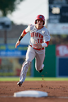 Auburn Doubledays right fielder Jacob Rhinesmith (18) runs the bases during a game against the Batavia Muckdogs on June 28, 2018 at Dwyer Stadium in Batavia, New York.  Auburn defeated Batavia 14-9.  (Mike Janes/Four Seam Images)