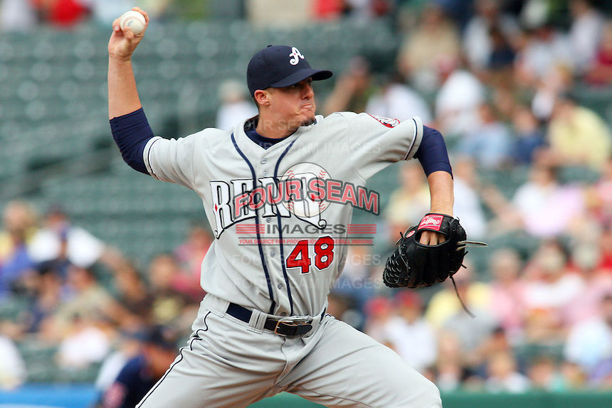 May 30, 2009:  Bryan Augenstein of the Reno Aces, Pacific Cost League Triple A affiliate of the Arizona Diamondbacks, during a game at the Spring Mobile Ballpark in Salt Lake City, UT.  Photo by:  Matthew Sauk/Four Seam Images