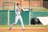 Coastal Carolina Chanticleers third baseman Zach Remillard (7) makes a throw to second base against the High Point Panthers at Willard Stadium on March 14, 2014 in High Point, North Carolina.  The Panthers defeated the Chanticleers 3-0.  (Brian Westerholt/Four Seam Images)