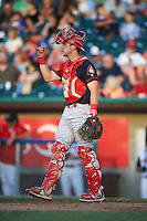 Peoria Chiefs catcher Steve Bean (8) during a game against the Lansing Lugnuts on June 6, 2015 at Cooley Law School Stadium in Lansing, Michigan.  Lansing defeated Peoria 6-2.  (Mike Janes/Four Seam Images)