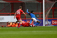 Joshua Kayode (R) of Carlisle United scores the second goal for his team during Crawley Town vs Carlisle United, Sky Bet EFL League 2 Football at Broadfield Stadium on 21st November 2020