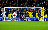 Luka Milivojevic of Crystal Palace (4) Scores his teams 1st goal of the match from the spot ,during the Premier League match between Brighton and Hove Albion and Crystal Palace at the American Express Community Stadium, Brighton and Hove, England on 4 December 2018. Photo by Edward Thomas / PRiME Media Images.