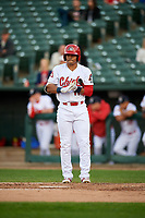 Peoria Chiefs center fielder Nick Plummer (11) at bat during a game against the West Michigan Whitecaps on May 8, 2017 at Dozer Park in Peoria, Illinois.  West Michigan defeated Peoria 7-2.  (Mike Janes/Four Seam Images)