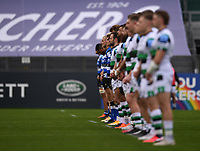 21st November 2020; Recreation Ground, Bath, Somerset, England; English Premiership Rugby, Bath versus Newcastle Falcons; A minutes silence before kick off for Cecil Duckworth, Bristol club president