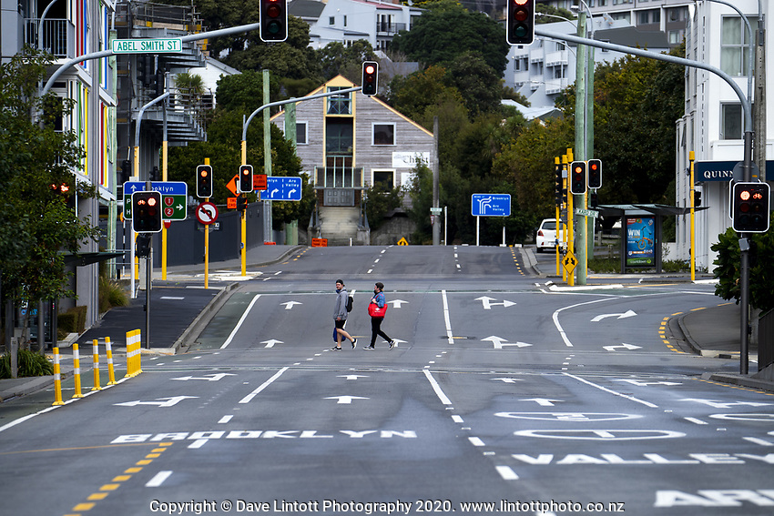 Victoria Street at 11.30am on Friday during the COVID-19 pandemic lockdown in Wellington, New Zealand on Friday, 3 April 2020. Photo: Dave Lintott / lintottphoto.co.nz
