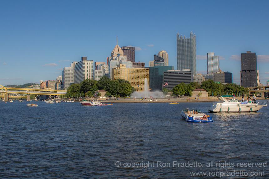 A view of Pittsburgh Point State Park from the Gateway Cliipper boat.