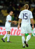 Landon Donovan of USA makes a point to team-mate Jay DeMerit. USA defeated Egypt 3-0 during the FIFA Confederations Cup at Royal Bafokeng Stadium in Rustenberg, South Africa on June 21, 2009.