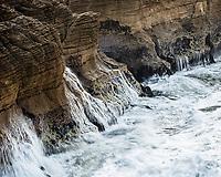 Crashing waves into limestone formation, pancake rocks in Punakaiki, Paparoa National Park, Buller Region, West Coast, New Zealand, NZ