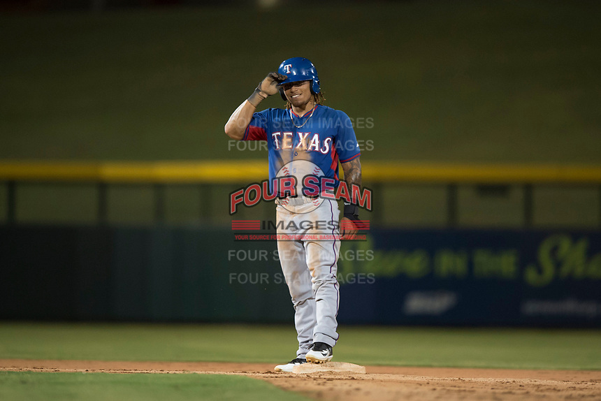 AZL Rangers left fielder LeDarious Clark (1) stands on second base during an Arizona League game against the AZL Cubs 2 at Sloan Park on July 7, 2018 in Mesa, Arizona. AZL Rangers defeated AZL Cubs 2 11-2. (Zachary Lucy/Four Seam Images)