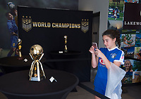 Lakewood Ranch, FL - December 7, 2017: The trophies for three Women's World Cups, NWSL Championship, SheBelieves Cup, and Nike Friendlies were displayed during the Nike International Friendlies at Premier Sports Campus.