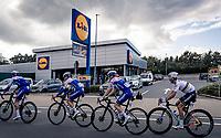 World Champion Julian Alaphilippe (FRA/Deceuninck-QuickStep) & team passing by a team sponsor<br /> <br /> 60th De Brabantse Pijl 2020 - La Flèche Brabançonne (1.Pro)<br /> 1 day race from Leuven to Overijse (BEL/197km)<br /> <br /> ©kramon