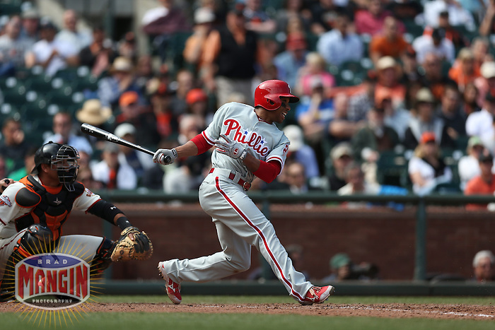 SAN FRANCISCO, CA - MAY 8:  Ben Revere #2 of the Philadelphia Phillies bats against the San Francisco Giants during the game at AT&T Park on Wednesday, May 8, 2013 in San Francisco, California. Photo by Brad Mangin