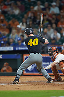 Peter Zimmermann (40) of the Missouri Tigers at bat against the Texas Longhorns in game eight of the 2020 Shriners Hospitals for Children College Classic at Minute Maid Park on March 1, 2020 in Houston, Texas. The Tigers defeated the Longhorns 9-8. (Brian Westerholt/Four Seam Images)
