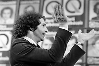 Montreal (QC) CANADA, November 15, 1976 file photo - Claude Charron,<br /> and  Candidates of the Parti Quebecois celebrate their first victory onstage with leader Rene Levesque , November 15 1976 at Centre Paul Sauve