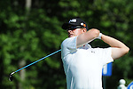 1 September 2008: Hunter Mahan tees off at the Deutsche Bank Golf Championship in Norton, Massachusetts.