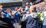 12.05.2019 Rangers v Celtic: Scott Arfield mobbed by fans after scoring