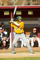 Keith Bjaelker (3) of the SUNY Sullivan Generals at bat against the County College of Morris Titans on the campus of County College of Morris on April 9, 2013 in Randolph, New Jersey.  The Titans defeated the Generals 12-4.  (Brian Westerholt/Four Seam Images)