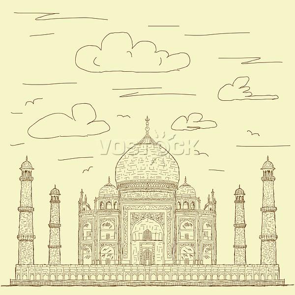 vintage hand drawn illustration of famous tourist destination taj mahal of India.