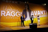 Luigi Di Maio, Virginia Raggi and Paola Taverna on the stage during the closing of the election campaign for the new mayor of the Rome.<br /> Rome (Italy), October 1st 2021<br /> Photo Samantha Zucchi Insidefoto