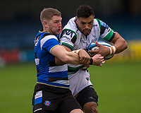 Newcastle Falcons Luther Burrell is tackled by Bath Rugby's Ruaridh McConnochie<br /> <br /> Photographer Bob Bradford/CameraSport<br /> <br /> Gallagher Premiership Round 1 - Bath Rugby v Newcastle Falcons - Saturday 21st November 2020 - The Recreation Ground - Bath<br /> <br /> World Copyright © 2020 CameraSport. All rights reserved. 43 Linden Ave. Countesthorpe. Leicester. England. LE8 5PG - Tel: +44 (0) 116 277 4147 - admin@camerasport.com - www.camerasport.com