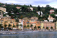 Beautiful port village of Santa Margherita Ligure on coast of Italy for tourists near Portofin