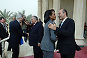 Iraq 2008 .Baghdad: Condoleezza Rice, the United States secretary of State and Ryan Crocker, the American  ambassador  received  by the president Jalal Talabani and Berham Saleh , the deputy prime minister  in Salam Palace .Irak 2008.Arrivee au Salam Palace a Bagdhad de Condoleezza Rice, secrrtaire d'etat et de Ryan Crocker, l'ambassadeur americain recus par le president jalal Talabani et le vice premier ministre Berham Saleh