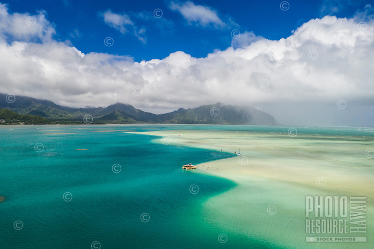 Aerial view of Kane'ohe Sandbar, or Ahu o Laka Islet, Kane'ohe Bay, Windward O'ahu.