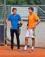 Austria, Kitzbuhel, Juli 14, 2015, Tennis, Davis Cup, Training Dutch team, Robin Haase and Jan-Willem de Lange<br /> Photo: Tennisimages/Henk Koster