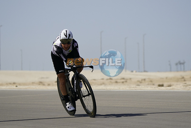 Domencio Pozzovivo (ITA) Team Qhubeka Assos during Stage 2 of the 2021 UAE Tour an individual time trial running 13km around  Al Hudayriyat Island, Abu Dhabi, UAE. 22nd February 2021.  <br /> Picture: Eoin Clarke | Cyclefile<br /> <br /> All photos usage must carry mandatory copyright credit (© Cyclefile | Eoin Clarke)