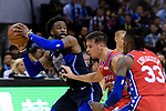 Wesley Matthews of Dallas Mavericks (L) in action during the NBA China Games 2018 match between Dallas Mavericks and Philadelphia 76ers at Universiade Center on October 08 2018 in Shenzhen, China. Photo by Marcio Rodrigo Machado / Power Sport Images