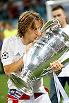 Real Madrid's Luka Modric celebrates the victory in the UEFA Champions League 2015/2016 Final match.May 28,2016. (ALTERPHOTOS/Acero)
