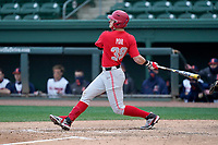 First baseman Conner Pohl (29) of the Ohio State Buckeyes bats in a game against the Illinois Fighting Illini on Friday, March 5, 2021, at Fluor Field at the West End in Greenville, South Carolina. (Tom Priddy/Four Seam Images)