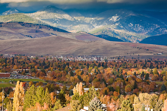 The Missoula, Montana valley in autumn with a dusting of snow on the higher elevation hills