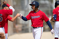 FCL Twins Emmanuel Rodriguez (4) celebrates after hitting a home run during a game against the FCL Boston Red Sox on July 3, 2021 at CenturyLink Sports Complex in Fort Myers, Florida.  (Mike Janes/Four Seam Images)
