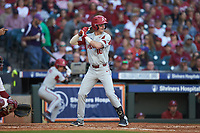 Cole Austin (16) of the Arkansas Razorbacks at bat against the Oklahoma Sooners in game two of the 2020 Shriners Hospitals for Children College Classic at Minute Maid Park on February 28, 2020 in Houston, Texas. The Sooners defeated the Razorbacks 6-3. (Brian Westerholt/Four Seam Images)