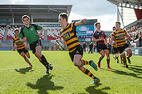 Monday 27th February 2017 | ULSTER SCHOOLS CUP SEMI-FINAL<br /> <br /> Niall Armstrong scores the second RBAI try during the Ulster Schools Cup Semi-Final between RBAI and Ballymena Academy  at Kingspan Stadium, Ravenhill Park, Belfast, Northern Ireland. <br /> <br /> Photograph by John Dickson | www.dicksondigital.com