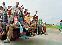 Supporters of the African National Congress (ANC) in Soweto celebrating Nelson Mandela's release from prison.